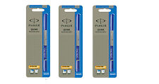 3 x Parker Frontier Vector Roller Ball Pen Refills, Rollerball, Blue Ink, 0.5mm