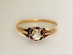 14k Rose Gold and Diamond Antique Engagement Ring Size 8