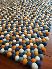 Handmade Multi Colour Felt Ball Rug Nursery Kids. Carpet Pom Pom. Nepal 100x150