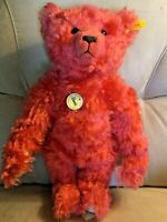 "14"" STEIFF CLASSIC TEDDY BEAR WATERMELON RED MOHAIR WITH GROWLER  EAN005152"