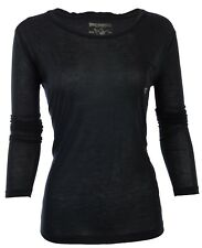 TRUE RELIGION Womens LS T-Shirt BLACK Rhinestones Horseshoe Pocket XS-L $68 NWT