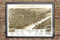 Vintage Waco, TX Map 1886 - Historic Texas Art - Old Victorian Industrial