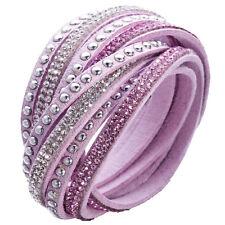 Crystal Cuff Bracelet Rhinestone Slake Stud Pink Bracelet Swarovski Element