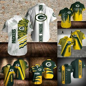 Green Bay Packers Men Summer Casual Shirts Short Sleeve Button Down Tops Gifts