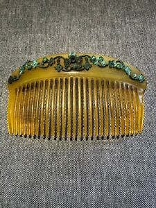 Antique Celluloid Hair Comb with Metal and Stone embellishment