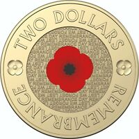 2012 Australia UNC $2 Coin on Card Remembrance Day Red Poppy