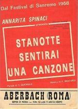ANNARITA SPINACI STANOTTE SENTIRAI UNA CANZONE QUEIROLO (SPARTITO MUSICA)(M91)