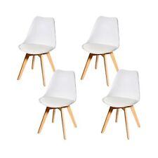 B-Ware 4x Esszimmerstuhl MCW-E53, weiß/weiß, Kunstleder, helle Beine