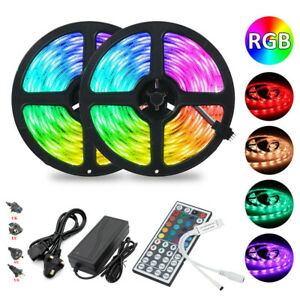 5M/10M 300 LED RGB 5050 SMD Non-Waterproof Strip Light Flexible 12V+Remote+Power