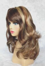 Medium Length Wavy Brown/Blonde Full Synthetic Wig Wigs - Amber