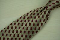 Luciano Barbera Gold Scarlet Red Geometric Link 100% Silk Tie Made Italy