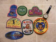 7 GIRL SCOUT PATCHES & NON WORKING WATCH TIME PIECE, COOKIE SALES, SKILLS ETC