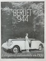 PUBLICITÉ DE PRESSE 1933 BERLIET 944 L'ÉLÉGANCE AUTOMOBILE EN 1934
