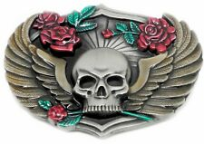 Skull Belt Buckle Winged Skull & Roses Gothic Design Authentic Siskiyou Product