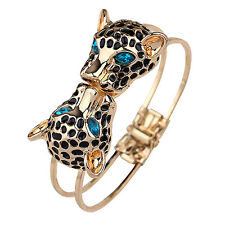 Highly Stylish Women Double Leopard Heads Bangle Open Hand Cuff Bracelet Gift