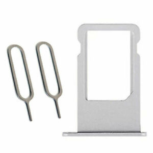 Silver Sim Tray Card Holder Plus 2 Eject Pins For iPhone 6S