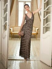 PHASE EIGHT Belgravia Brown Sequin Maxi Full Length Wedding Evening Dress UK 16
