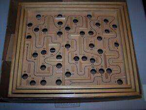 Vintage Brio Labyrinth Wooden Maze Marble Game With Original Box Made In Sweden