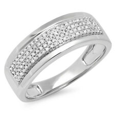 0.40 Carat Sterling Silver Diamond Men's Flashy Pinky Wedding Ring (Size 9)