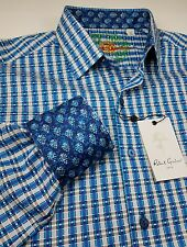 Robert Graham Men Vintage Geometric Plaid Blue Small Classic-Fit Sport Shirts