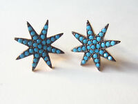 ROSE GOLD PLATED 925 STERLING SILVER TURQUOISE STAR STUD EARRINGS HANDMADE