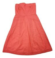 J Crew Women's Strapless Ribbed Back Cotton Pleated A Line Dress Size 0