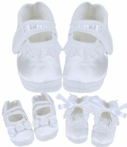 BabyPrem Baby Girls White Christening Booties Shoes Parties Weddings 0 - 3 m