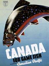 Travel sport fishing angling fish game canada catch art imprimé posterbb 7631B