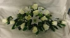 wedding flowers top table decoration ivory roses and  Ivory Lily's gyp many cols