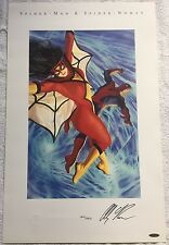 Reproduction Litho Print Of Spider-Man And Spider-woman Signed By Alex Ross