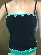 NEW Profile by GOTTEX E254-1B15 Black/Turquoise TANKINI Top ONLY Women's Size 8