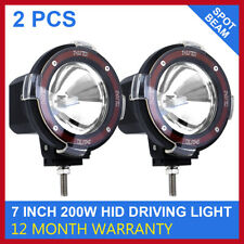 Pair 200w Hid Driving Lights Spot Spotlights Round Red Work Offroad Lamp 7 Inch