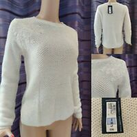 PER UNA Women Winter White Top Knitted Jumper Mohair UK 8-10 Long Sleeve New £35