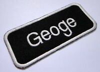 NAME TAG GEOGE EMBROIDERED IRON ON PATCH + Free Shipping