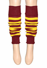 HARRY POTTER STYLE MAROON AND YELLOW STRIPE LEG WARMERS FOR FANCY DRESS PARTIES