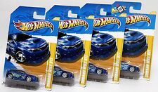 SUBARU WRX STI * LOT OF 4 * 2012 HOT WHEELS * BLUE w/ WHITE 10-SPOKE WHEELS