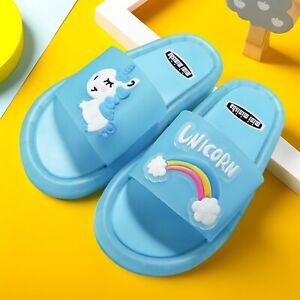 Rainbow Unicorn Slippers Little Pony LED Light Summer Kids Soft Indoor Glowing