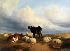 Oil painting thomas sidney cooper - canterbury meadows & cows sheep landscape 11