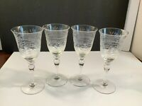 Set of 4 Vintage Stemmed Claret Wine Cordial Glasses Etched Floral 6 1/2""