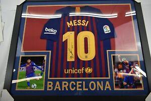 Lionel Messi Signed 35x43 Custom Framed Jersey Barcelona Beckett COA Autographed