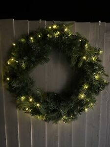 Pre-lit Large Christmas Wreath, Warm White Lights, With Timer, 60cm