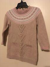 Euc Savannah Pink Brown Sweater Dress Girls Size 24 Months Golden Trim Sleeves