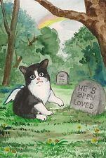 LE #2 4X6 POSTCARD RYTA VINTAGE STYLE ART TUXEDO CAT KITTEN PET CEMETERY SPIRIT
