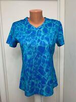 Reel Legends womens Shirt short sleeve polyester v neck splash blue s small