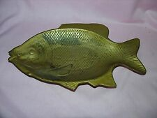 VINTAGE Heavy Brass Fish Platter Dish Nautical Maritime Collectable