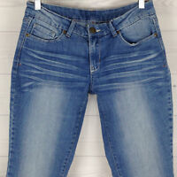 L.E.I. Women's Size 30 x 29 Embroidered Low Rise Bootcut Medium Wash Denim Jeans