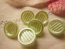 lot 6 boutons anciens en verre satiné VERT tendre vintage diamètre 1,3 cm R1664