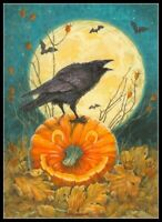 Halloween - Crow and Big Moon - Chart Counted Cross Stitch Patterns Needlework