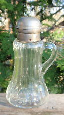 ANTIQUE GLASS SYRUP HOLDER POURER .