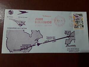 1973 AF Concorde 02 F-WTSA FLIGHT DALLAS to PARIS FLOWN COVER___SCARCE